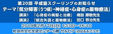第20回平成塾スクーリング「気分障害(うつ病)・神経症・心身症の薬物療法」